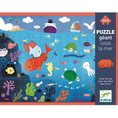 puzzle bajo el mar 24 piezas + 8 djeco