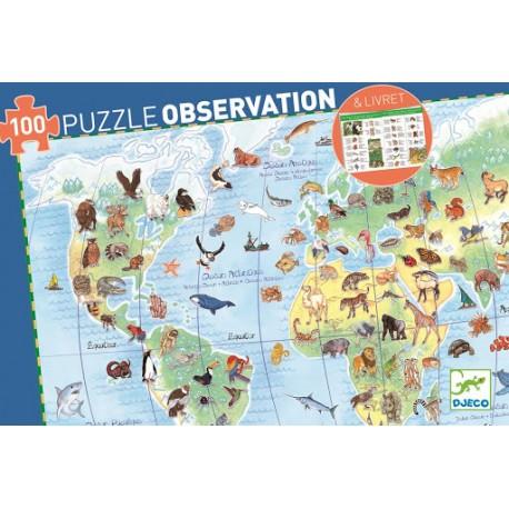 PUZZLE OBSERVACION ANIMALES DEL MUNDO + LIBRITO DJECO