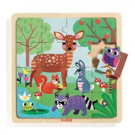 PUZZLE 16 PIEZAS EL BOSQUE Djeco Puzzle de Madera