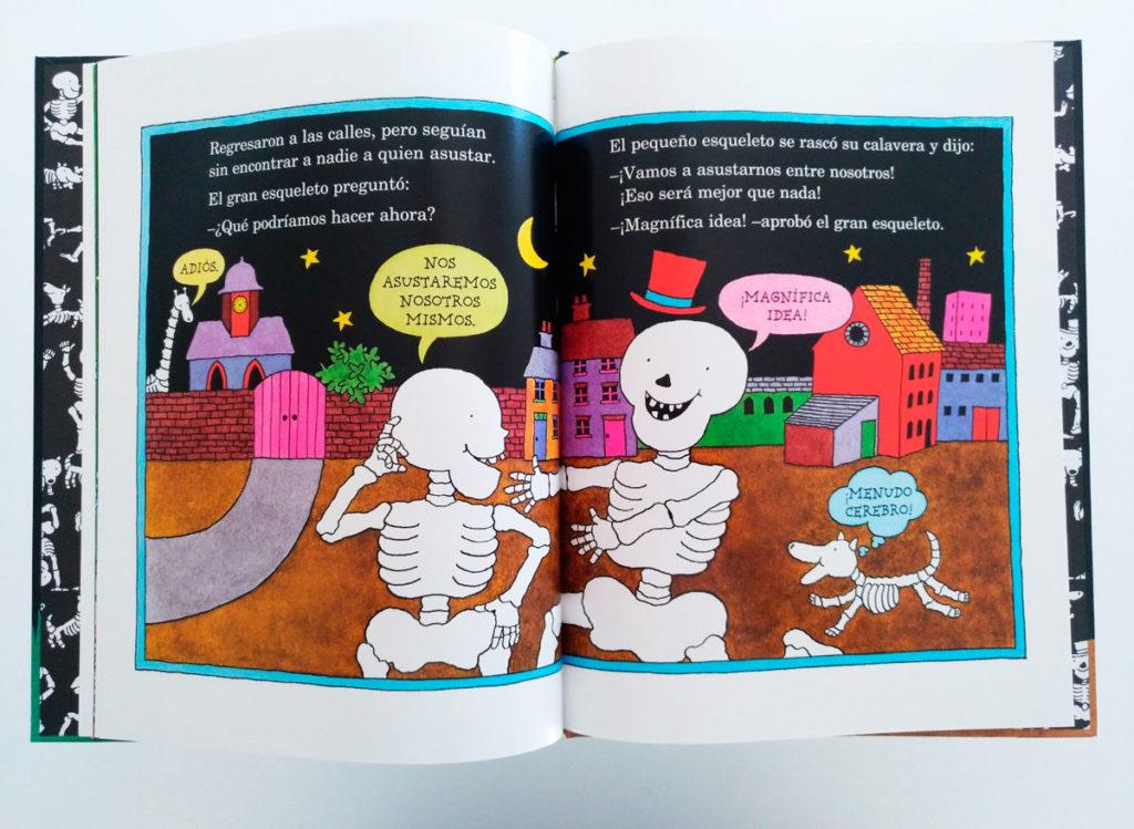 Ilustración interior del álbum ilustrado ¡Qué risa de huesos! de Kalandraka