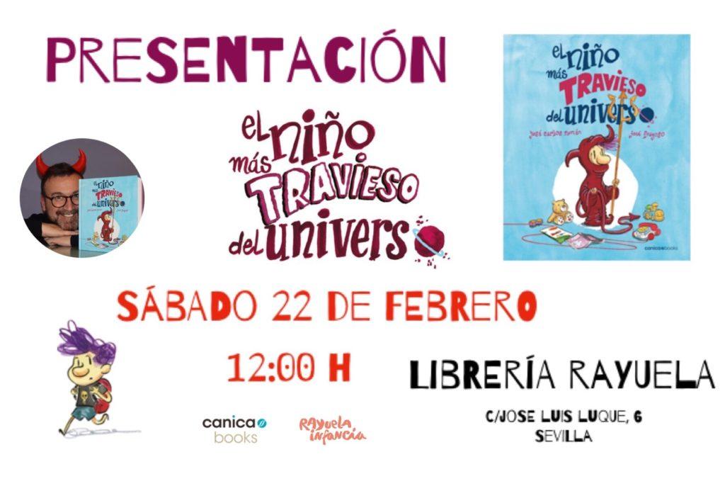 """Presentación de """"El niño más travieso del Universo"""" en librería Rayuela de Sevilla"""